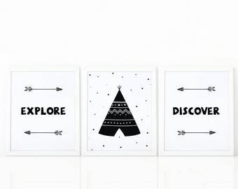 Set of 3 prints, explore, discover, tribal art, tribal Wall art, Kids room decor, Black and White, Nursery Art, printable art, scandinavian