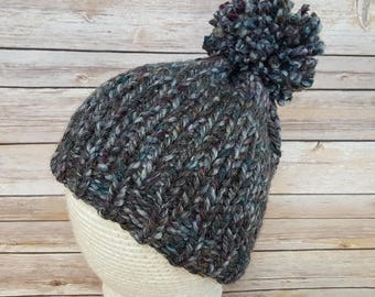 Women's Colorful Gray Beanie Hat, Winter Hat, Women's Hat, Women's Beanie Hat, Gray Beanie, Knitted Hat, Pom Pom Hat, Ready To Ship