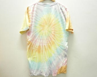 Classic! Vintage 90s Japan Power To The People rainbow TIE DYE t shirt size L