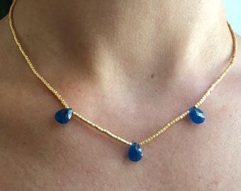 RAS of miyuki Golden neck and drops blue zirconium necklace miyuki female gift girl necklace gift was