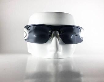 DOLCE & GABBANA Vintage Sunglasses Black Metal Shield 1990s DOLS53O-1