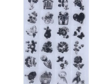Clear stamps, stamps transparent 24 piece set