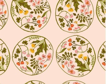 American cotton fabric Tiger Lily designer Heather Ross - bubbles of pale pink flowers - by 50 cm (110 x)