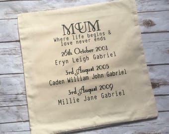 Personalised Mum Cushion Cover, personalised Mother's Day gift, personalised gift for her, personalised gift mum, printed cushion cover