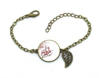 """Bracelet """" cerisier du Japon"""", image sous cabochon résine ,monture couleur bronze,ref bN 28"""