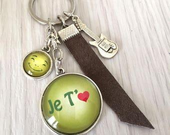 porte-clés bijou de sac a message thème Je t'aime, cuir ,guitare,guitariste .Sup15