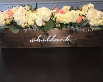Custom Last Name Dining Table Centerpiece Planter Box