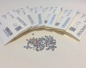 Genuine Swarovski Crystal Rhinestones flat back  - Crystal  AB Sealed Factory Pack SS5 TO SS20  Swarovski Rhinestones(144pcs)