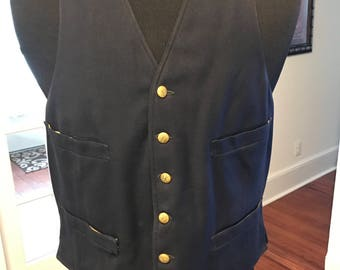 Vintage 1970's NY Train Conductor Uniform Vest