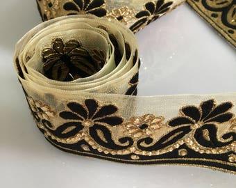 Decorative trim, Black and Gold Indian trim, Sari border, Trim by the yard, Saree trim, Indian lace, Trimmings, Ethnic trim, Lace and Trim