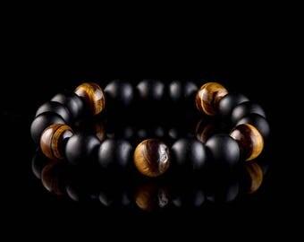 Tigers Eye & Black Onyx - Beaded Bracelet