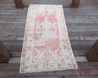 FREE SHIPPING! Turkish Rug Beautiful MidCentury Oushak Rug from Turkey  Rug Color Pastel Pile     62 x 32 inches