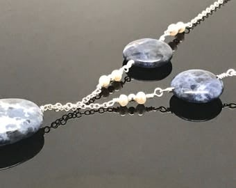 Sodalite & Pearl Necklace, Sterling Silver, Beautiful, Natural Energy, Enhances Mental Performance
