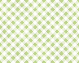Green Gingham Fabric - Riley Blake Green Gingham Fabric - Green and White Check Fabric