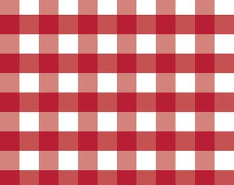 Red Gingham Fabric - Riley Blake Large Gingham Fabric - Red and White Check Fabric