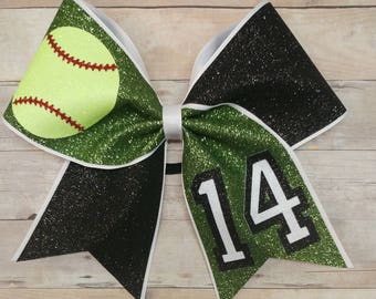 Glitter softball  bow,custom softball Hair bow, you pick colors