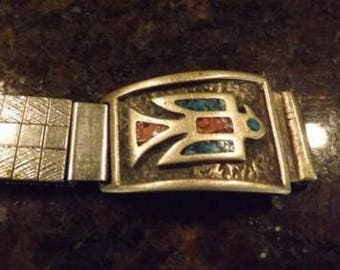 Vintage Navajo Native American Watch Band with Thunderbird Tips
