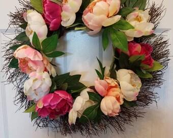 Spring wreath/door wreath/front door wreath/ summer wreath/ peony wreath