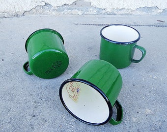 Vintage russian green enamel metal cups, new retro soviet mugs 3 pcs
