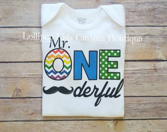Mr. Onederful Birthday white short sleeve*