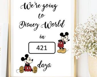 Disney countdown print - chalk count down disney print
