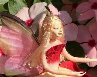 "Fae Folk® Fairies - VELVET - Garden Fairy. Bendable, posable 5"" soft doll can sit, stand, or hang."