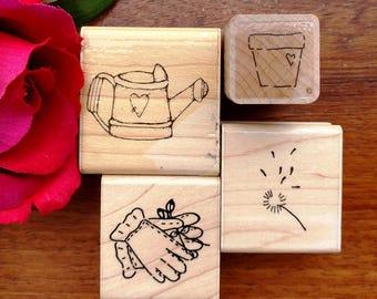Gardening Rubber Stamps Set of 4, Flowerpot, Garden Gloves, Watering Can, Dandelion, JRL, DOTS
