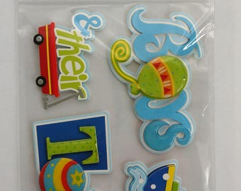 Baby Boy Scrapbook Stickers from Michael's Recollections, Boys and Their Toys, 3D Phrases, Dimensional Stickers