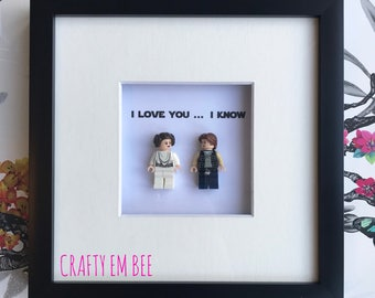 LEGO Star Wars Personalised Frame (Love • Hans • Leia • I Love You, I Know • Anniversary)
