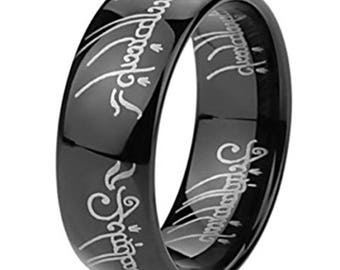 Lord of the ring black tungsten carbide ,Comfort fit