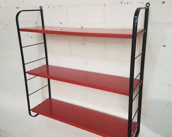 Vintage retro industrial metall wall unit red black, 1960s