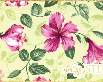 3 YARDS LEFT! Hawaiian Fabric By the Yard, Light Chartreuse and Pink Hibiscus, Hawaiiprint 48048, BTY Large Floral Pink Green Cotton Fabric