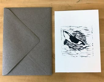Orca Whale Greetings Card – Linoprint