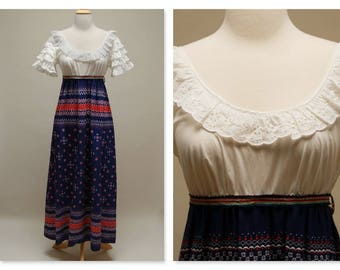 Vintage 70's Dress ⎮ Eyelet Boho Festival Dress ⎮ Maxi Ethnic Cotton Dress