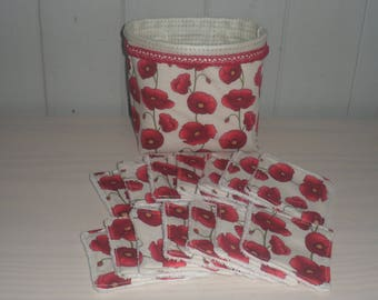 basket and its 14 cotton wipes poppies and sponge white 8cms x 8cms