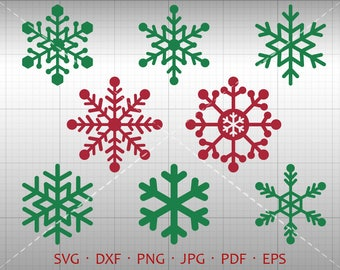Snowflake SVG, Xmas SVG, Snowflake Clipart DXF Silhouette Cricut Cut File Vector Commercial Use