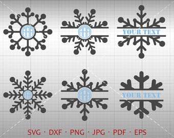 Snowflake SVG, Snowflake Monogram Frame with Circle Font, Christmas Clipart Silhouette Cricut Cut File Commercial Use