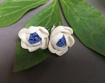 White and Blue Porcelain Flower Leverback Earrings, Handmade by GAIJA Jewelry