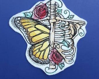Butterfly patch, bones patch, skull patch, skeleton patch