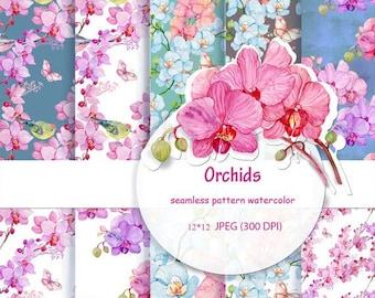 40% Sale /21-25June seamless pattern watercolor.Orchid flowers 12 x 12 JPEG (300 DPI)