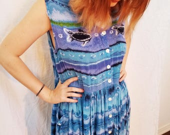 90's Blue Cotton Maxi Dress. Fish Print. Sleeveless. Mumu. Size Large