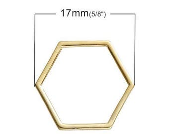 10 gold 17mm x 15mm hollow bee cell connectors