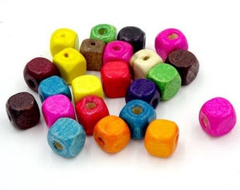 30 multicolored square wood 8 x 8 mm beads
