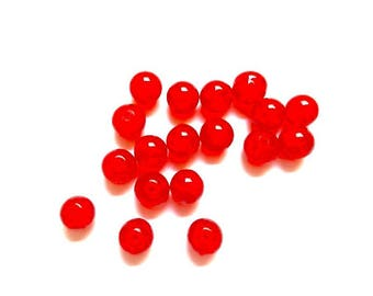 Cracked glass round 10mm 50 pieces red beads