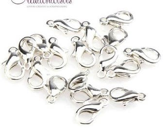 20 silver plated 12 mm lobster clasps