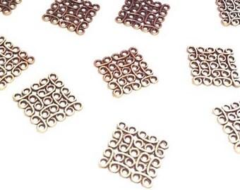 10 connectors square or diamond metal Bronze