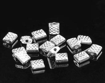 20 pearls tab pattern rectangle silver plated