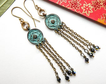 Antique blue swarovski pearls and blue patina Metal earrings