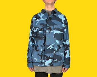 Blue Camouflage Army Jacket