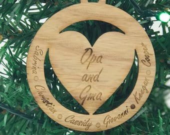 Grandparents Ornaments - Ornaments for Grandparents - Oma and Opa - Christmas Ornament - Grandparent Gift - Wood Ornament - Christmas Gift
